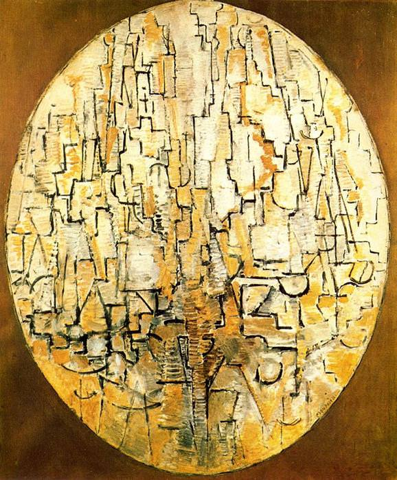 5 деревьев Пита Мондриана | Oval Composition (Trees), 1913 by Piet Mondrian