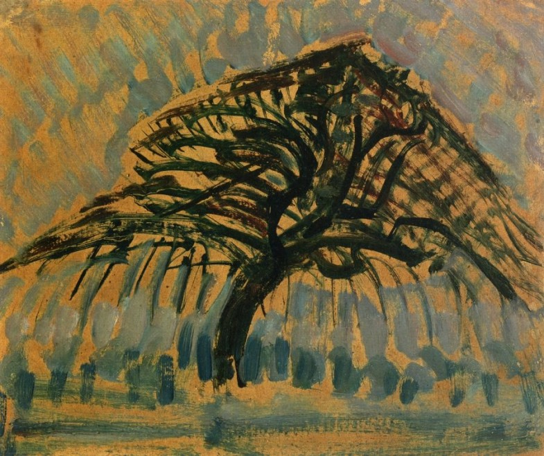 5 деревьев Пита Мондриана | Study for Blue Apple Tree, 1908