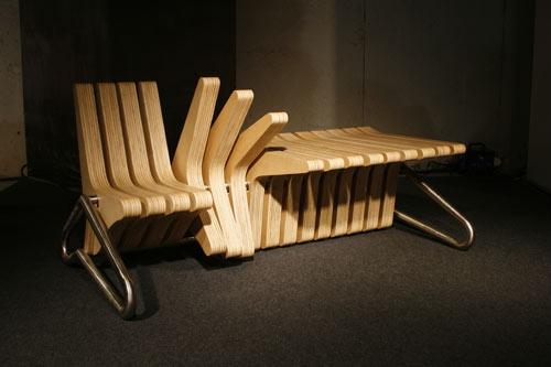 Современный дизайн улиц и скамья-трансофрмер