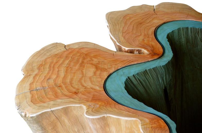 Стеклянные реки и озера текут через красивые столы | www.probauhaus.ru