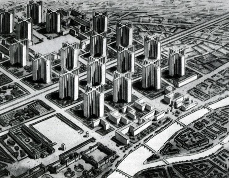 "План ""Вуазен"" (Plan Voisin). Проект реконструкции центра Парижа. 1925"